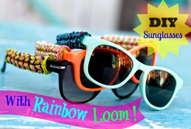 gafas, patillas gomitas, rainbow loom, manualidades