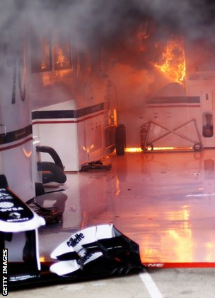 Williams F1 garage fire Bruno Senna car Spanish Grand Prix