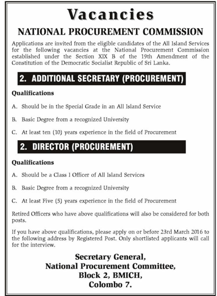 National Procurement Commission Vacancies Government Jobs – Procurement Director Jobs