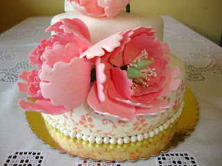 Detalle peonias de pasta de flores
