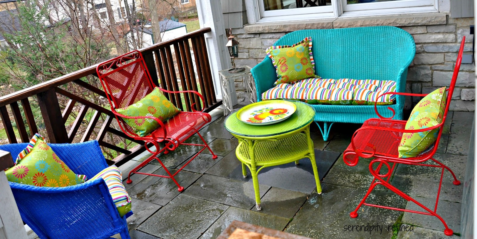 Serendipity Refined Blog  Wicker and Wrought Iron Patio Furniture     Spray painted brightly colored wicker and Wrought Iron Patio furniture  makeover