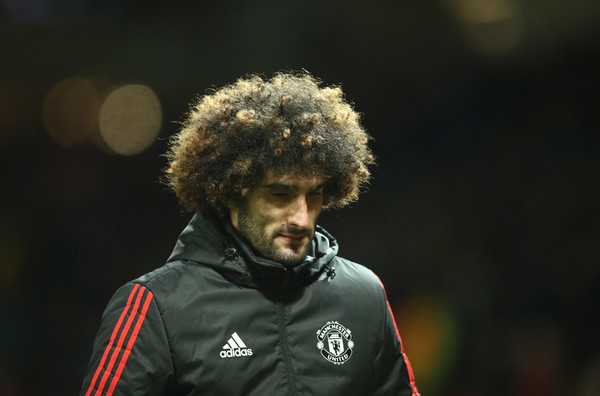 Marouane Fellaini of Manchester United looks dejected in defeat after the UEFA Champions League Round of 16 Second Leg match between Manchester United and Sevilla FC at Old Trafford on March 13, 2018 in Manchester, United Kingdom.