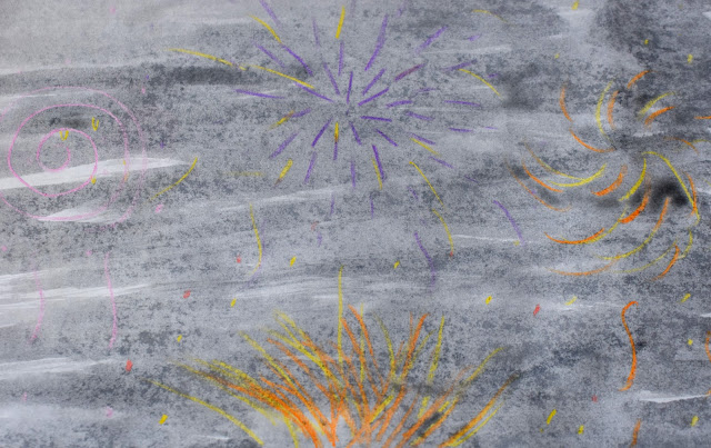 Bonfire night, Bonfire Night Crafts, November 5th, Crayon resist, crayon resist painting, firework painting, crayon resist firework painting, picture, craft, bonfire night craft,
