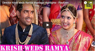 Director Krish weds Ramya Marriage Highlights