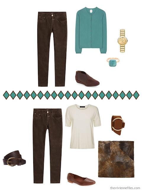 brown jeans worn 2 different ways