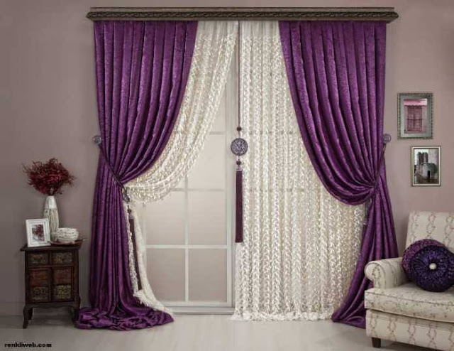 Beautiful modern curtain ideas in violet white theme