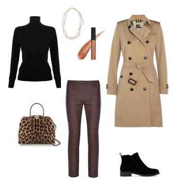 Look casual com calças skinny bordeaux, botins pretos, mala de mão padrão animal, camisola de gola preta e gabardine bege