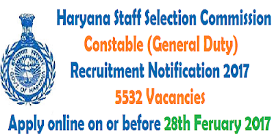 Haryana SSC Constable Recruitment Notification 2017