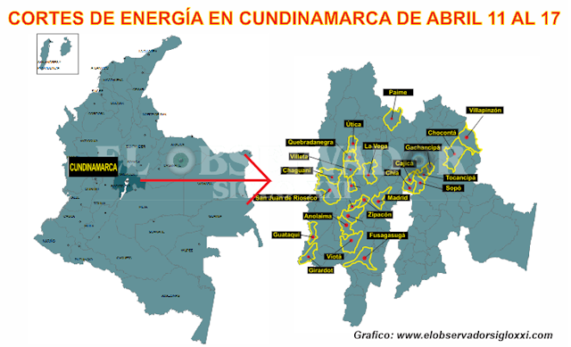 Del 11 al 17 de abril se presentarán más cortes de energía en Cundinamarca por parte de Codensa