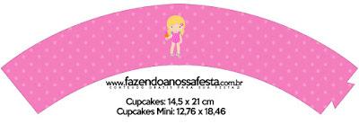Wrappers para Cupcake de Fiesta en la Piscina para Niña Rubia.