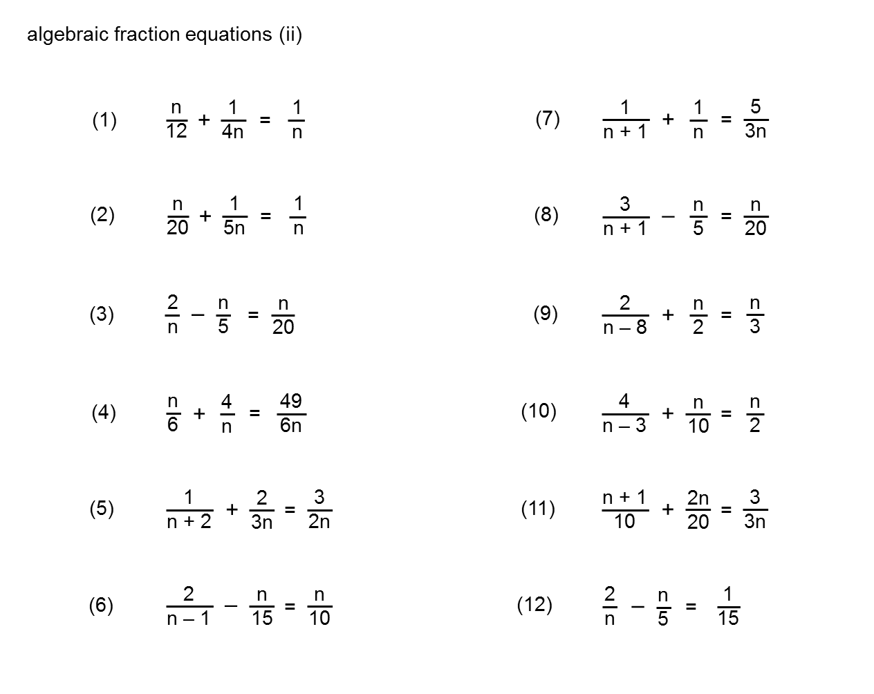 Median Don Steward Mathematics Teaching Equations Involving Algebraic Fractions