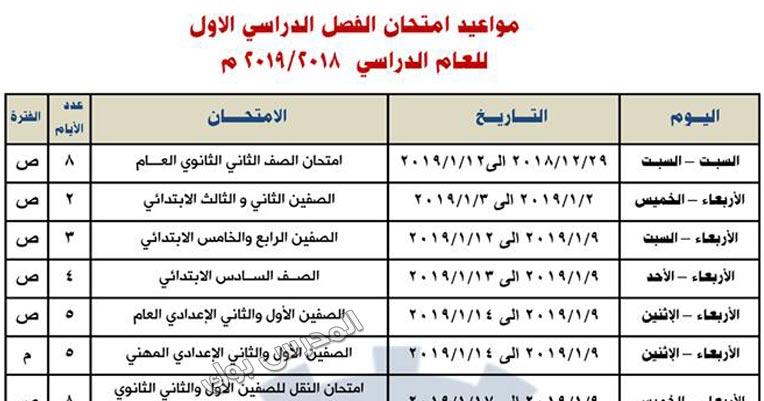 جدول امتحانات محافظة البحيرة 2019 نصف العام جميع المراحل ابتدائي واعدادي وثانوي الترم الأول