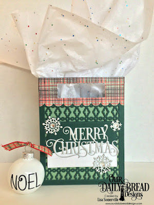 Our Daily Bread Designs Custom Dies: Card Caddy & Gift Bag, Gift Bag Handles & Topper, Snow Crystals, Beverage Cup, Snowy Slopes, Pierced Rectangles, Merry Christmas Caps, Paper Collection: Christmas 2017