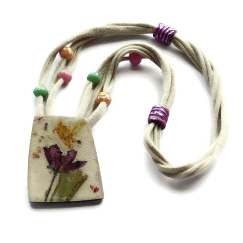 handmade floral paper necklace with t-shirt cord and paper beads