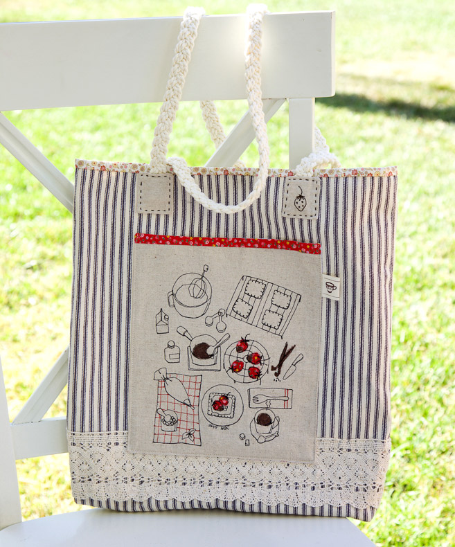 Canvas Tote Bag Pattern. Step by step photo tutorial and template.