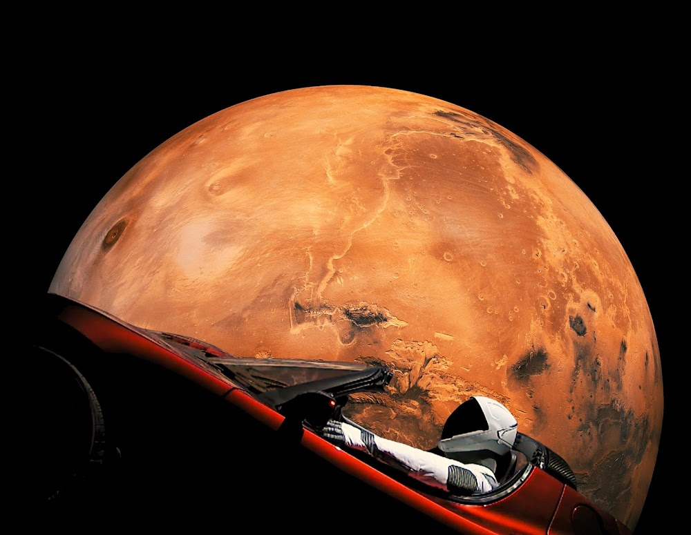 SpaceX's Starman orbiting Mars in his Tesla Roadster