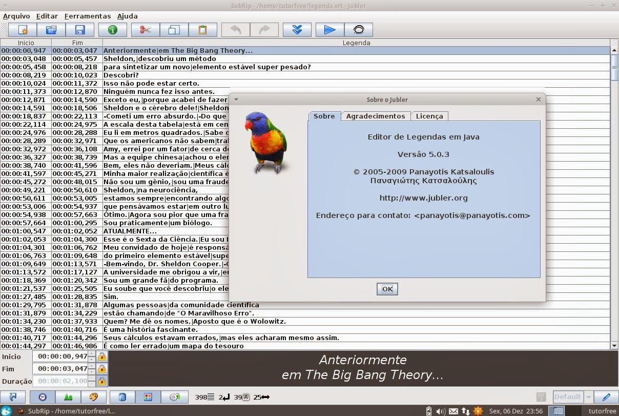Jubler subtitle editor - criar, converter, transformar