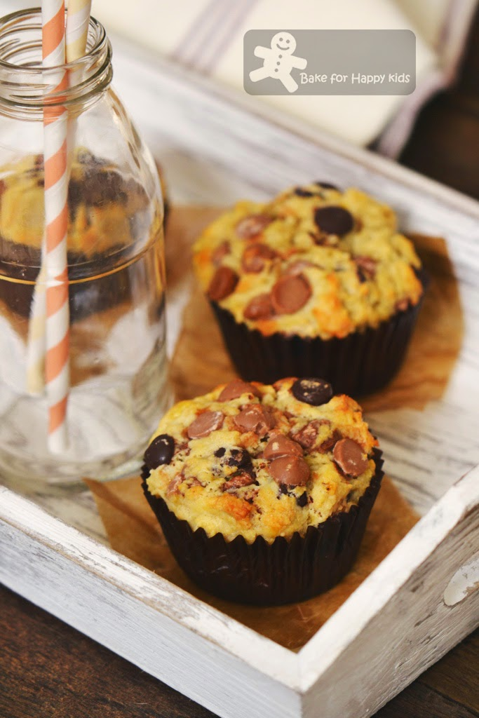 wholemeal banana chocolate chip muffins