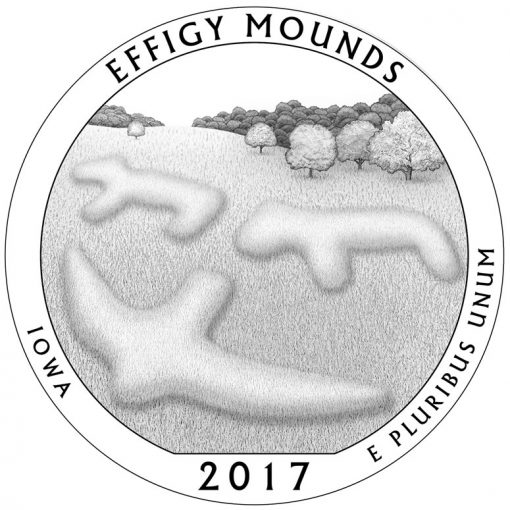 IA ROLL  P Philadelphia mint HEADS//TAILS ** IN STOCK ** 2017 EFFIGY MOUNDS