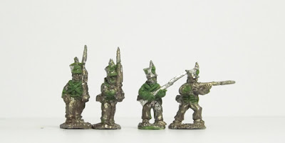 Line infantry, in both march attack and firing poses: