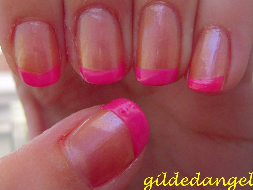 hot pink tip nails - photo #22