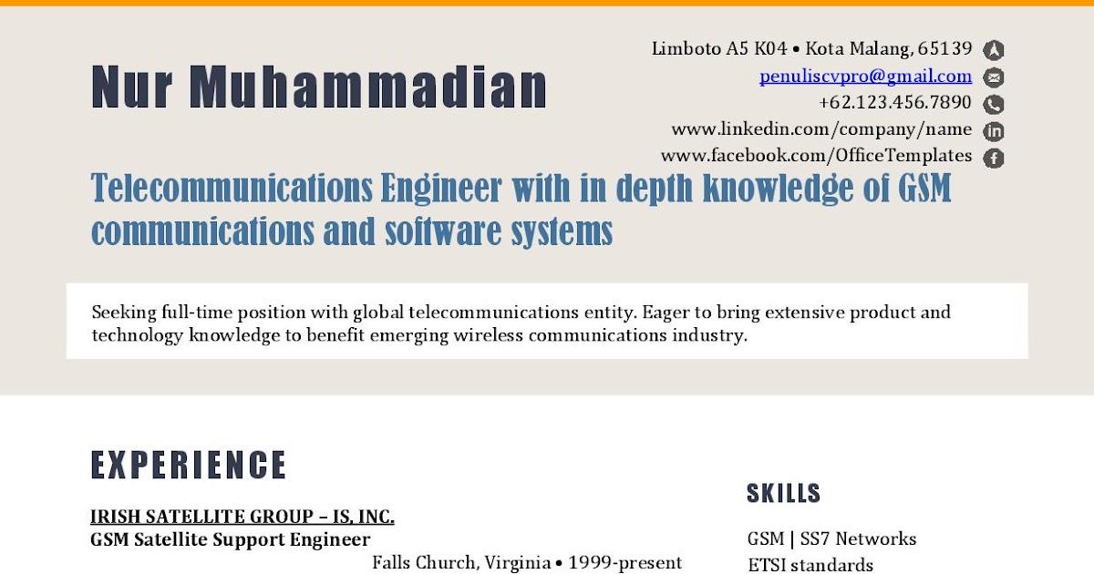 Contoh Resume Curriculum Vitae Teknisi Telekomunikasi