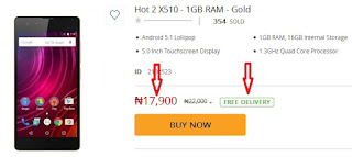 Infinix Hot 2 17,900 free delivery