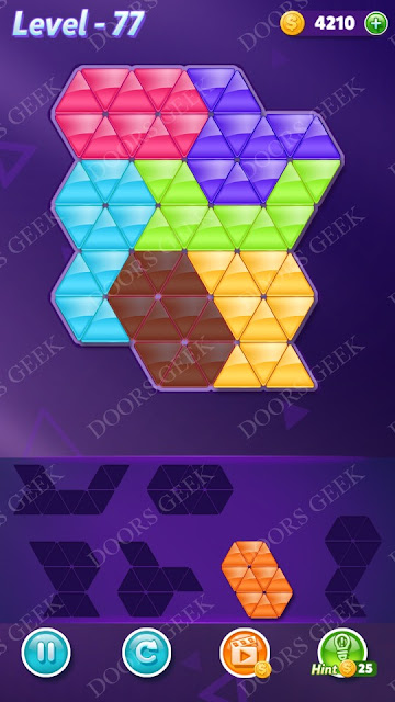 Block! Triangle Puzzle Intermediate Level 77 Solution, Cheats, Walkthrough for Android, iPhone, iPad and iPod