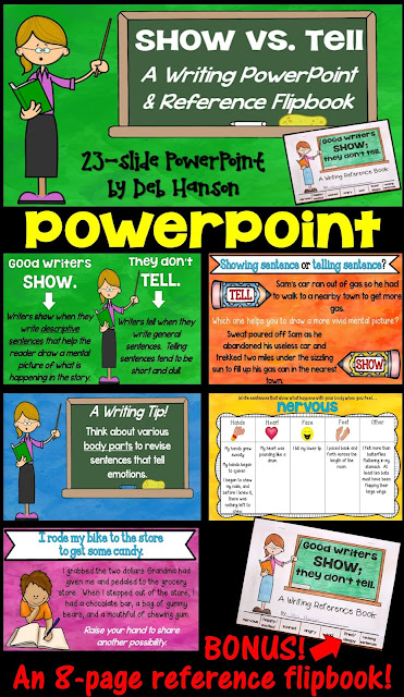 Show Don't Tell Writing Lessons! This resource contains a 23-slide PowerPoint and a 7-page matching flipbook!