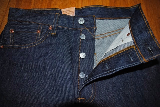 Levis 501STF front top area showing iconic feature button fly