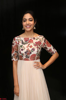 Ritu Varma smiling face Cream Anarkali dress at launch of OPPO New Selfie Camera F3 ~  Exclusive 026.JPG