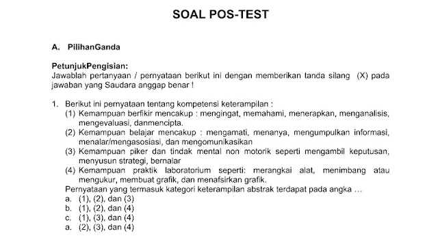 Unduh Soal Post Test Guru Sasaran Kurikulum 2013