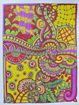 Completed pattern from Relaxed and Focused Colouring book