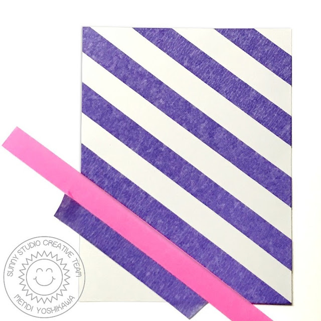 """Sunny Studio Stamps + Therm-o-web: Creating Custom Striped Backgrounds for Cards using new 1/2"""" Purple Tape"""