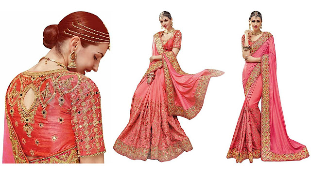 Maiya Saree Self Design, Embroidered, Applique, Paisley, Striped, Checkered Bollywood Georgette, Net Saree  (Pink)