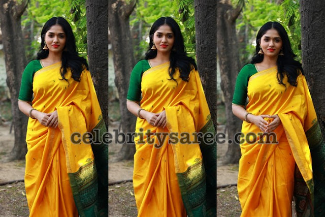 Sunaina Yellow Silk Saree