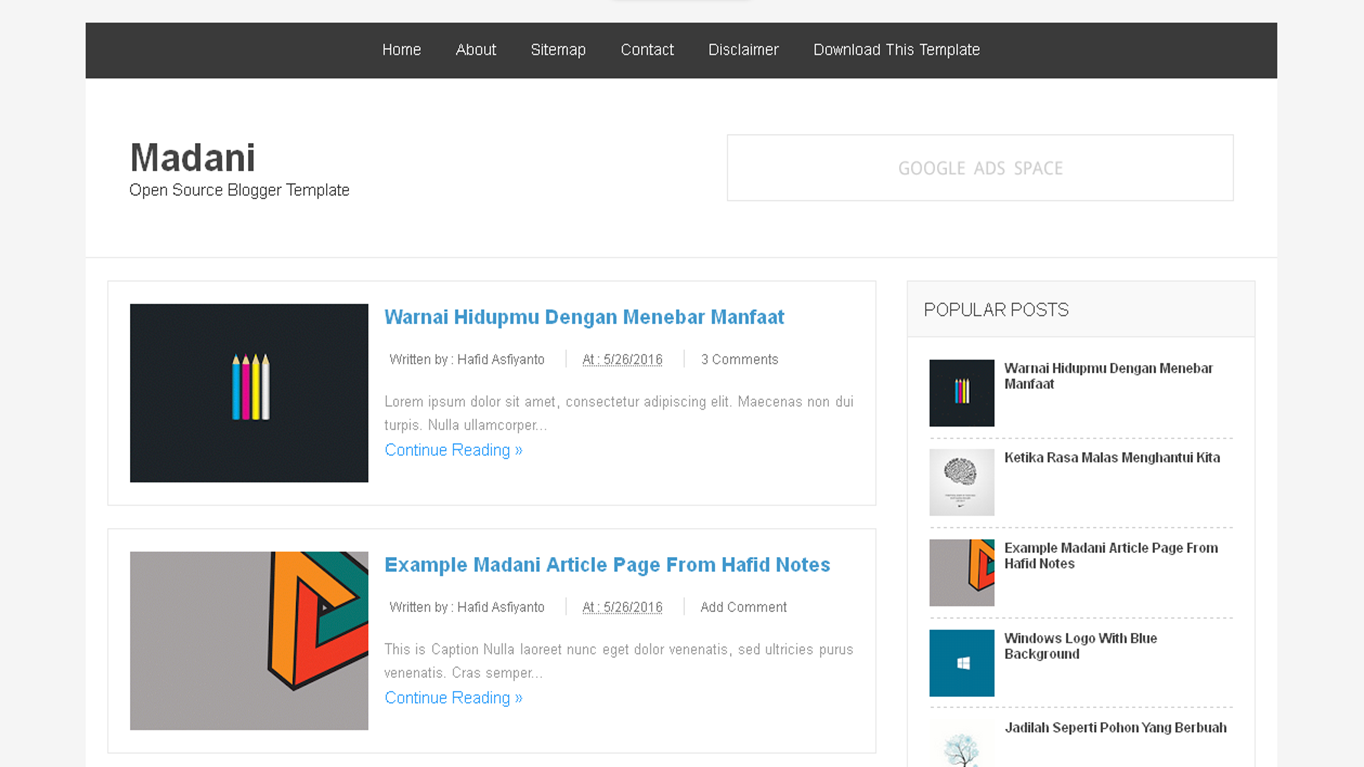 Madani open source blogger templates deviar template for Open source template engine