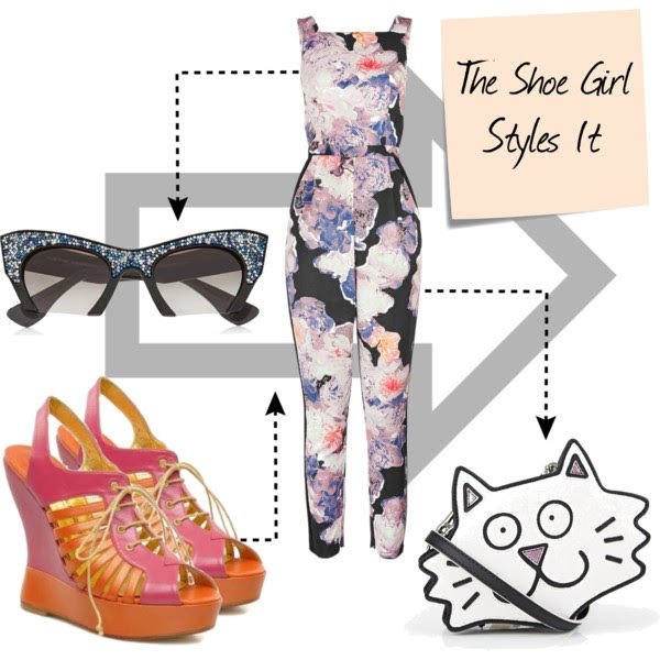 Polyvore outfit set for Terry de Havilland wedge shoes with jumpsuit