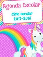 agenda escolar gratis de unicornio en pdf