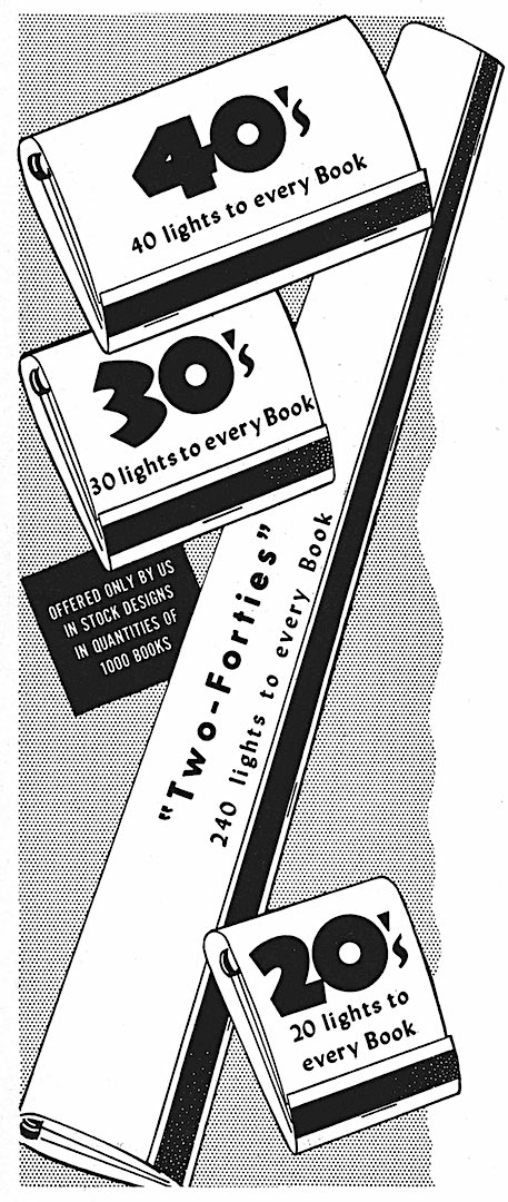 1953 matchpacks illustration, giant matchbook