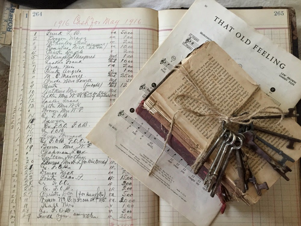 vintage sheet music and books decor