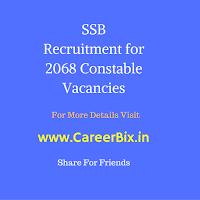 SSB Recruitment for 2068 Constable Vacancies