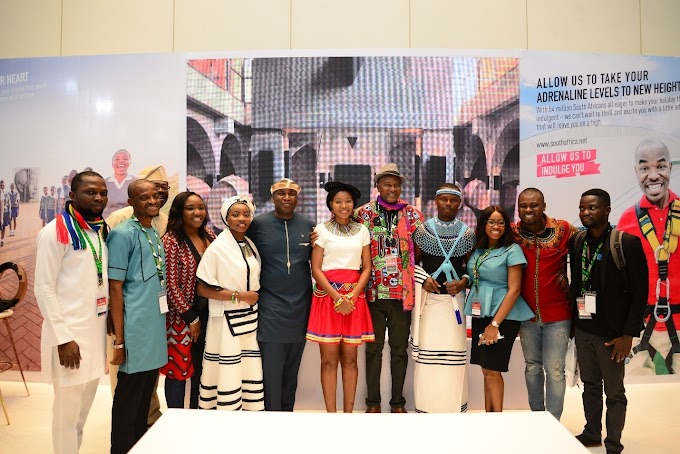 Senator Ita Giwa, Banky W And Others Visit The South African Tourism Stand At Akwaaba African Travel Market 2018
