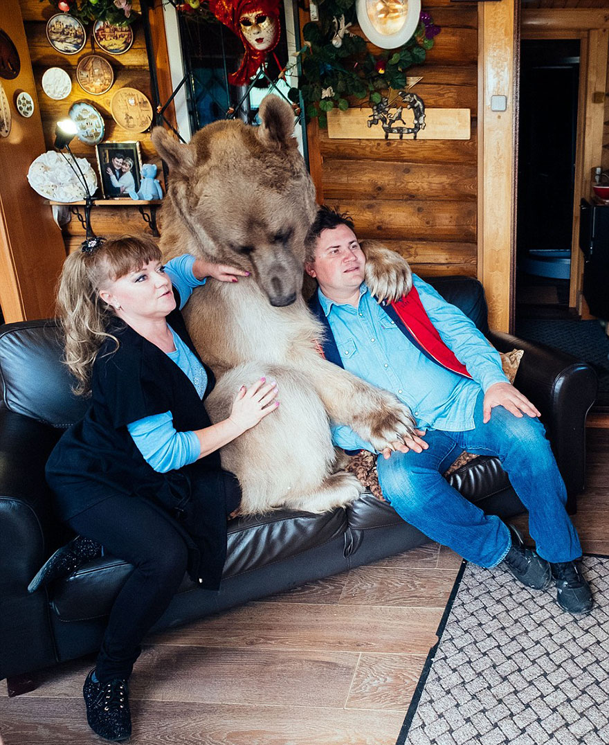 "Russian Couple Adopted An Orphaned Bear 23 Years Ago, And They Still Live Together - ""Despite what people might think, he is not aggressive at all"""