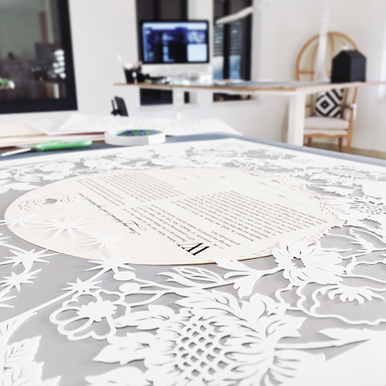 papercut ketubah Moon & Flowers in the studio