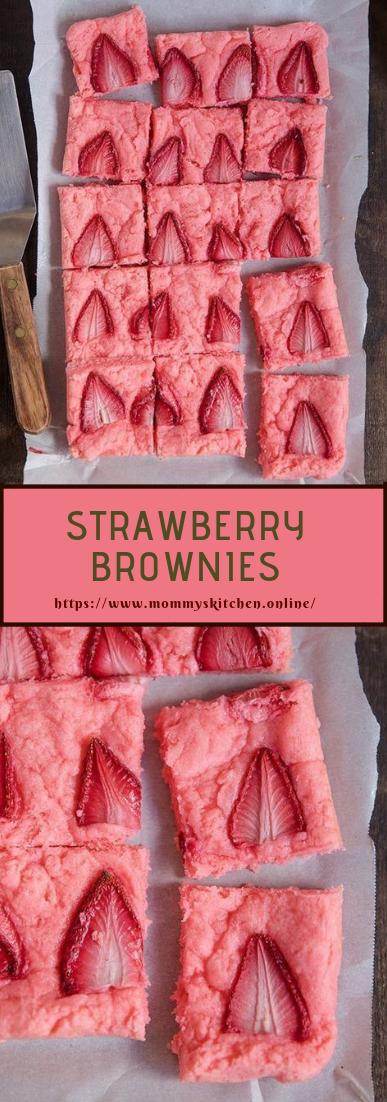 STRAWBERRY BROWNIES #deesert #strawberrycake