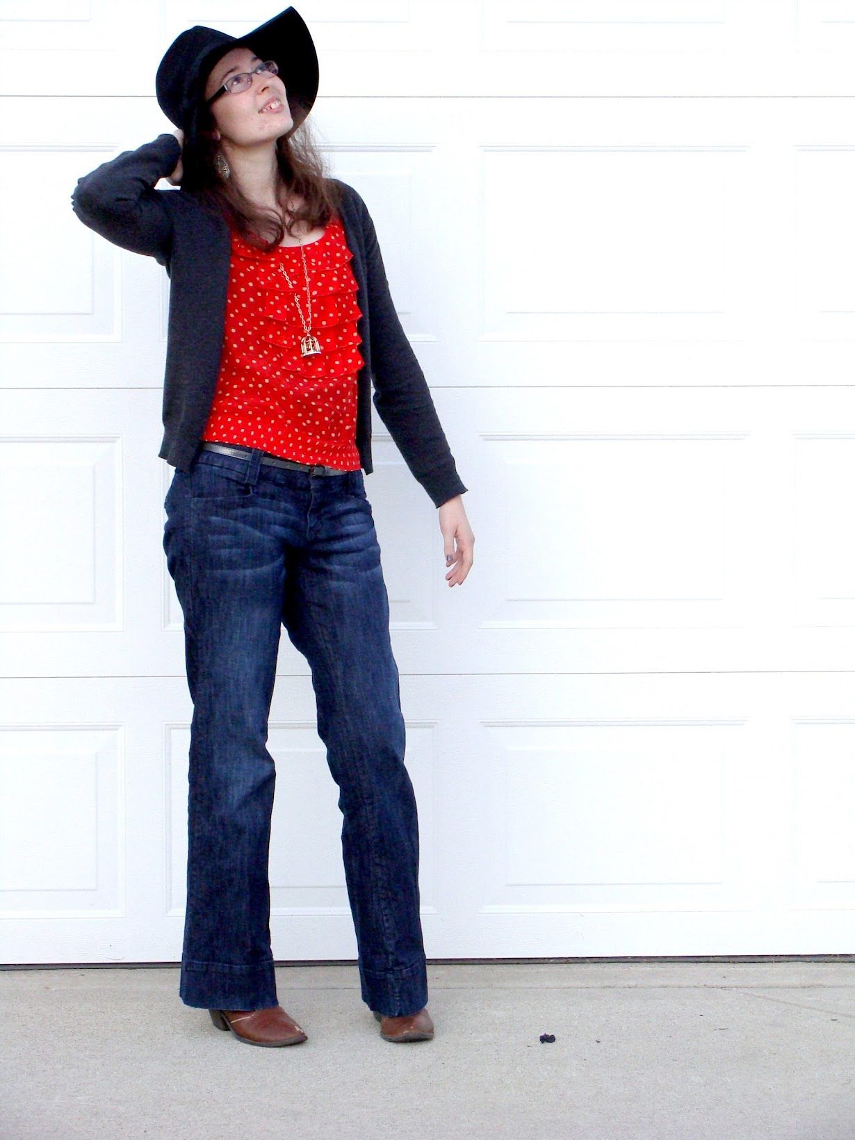 f184caecdf polka dot silk-blend top forever 21/ cardigan forever 21/ jeans maurices/  skinny belt forever 21/ boots target/ bird cage necklace forever 21/ floppy  hat ...