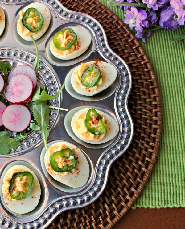 Sriracha Deviled Eggs with Candied Jalapeno Peppers | Renee's Kitchen Adentures