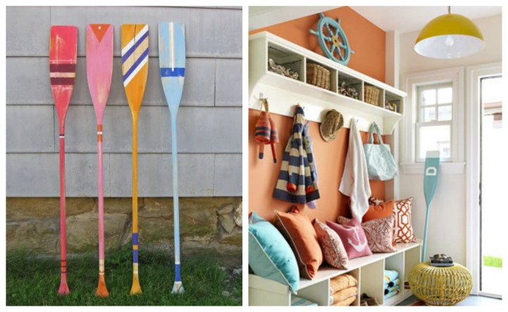 COastal summer painted oars