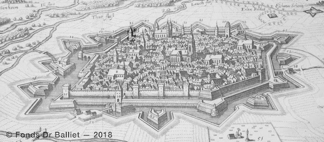 Tour octogonale « Henckersturm » flanquant la rivière Lauch (Merian, 1643)